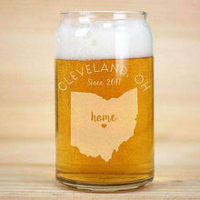 Load image into Gallery viewer, Personalized Home State Beer Can Glass with Heart