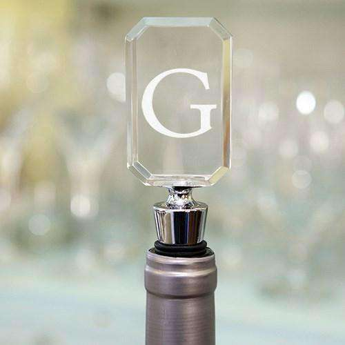 Personalized Acrylic Wine Bottle Stopper - Block Monogram-Wine Accessories Gourmet Wedding Gifts and edible wedding favors