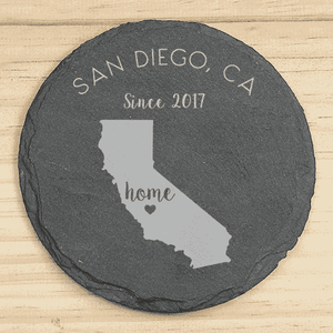 Personalized Home State Slate Coaster Set-Gourmet Wedding Gifts Personalized custom party favors and corporate event gifts