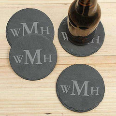 4 Piece Custom Engraved Monogrammed Slate Coaster Set-Coasters Gourmet Wedding Gifts and edible wedding favors