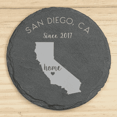 Personalized 4-Piece Home State Slate Coaster Set-Coasters Gourmet Wedding Gifts and edible wedding favors