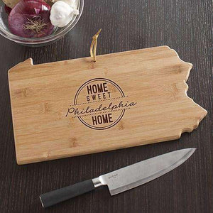 Personalized Pennsylvania State Wood Cutting Board-Gourmet Wedding Gifts and Wedding Favors for guests