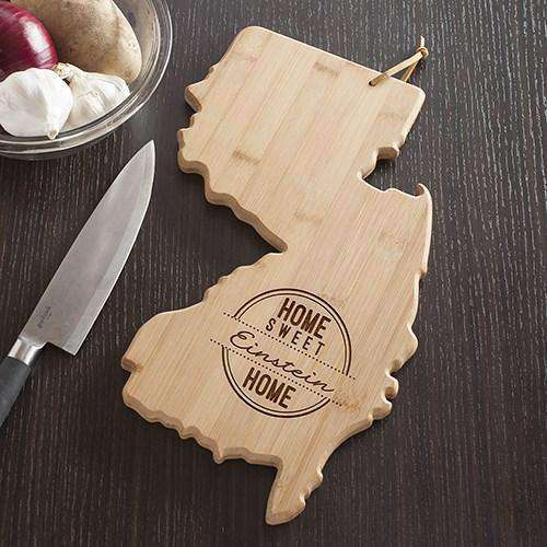 Personalized New Jersey State Wood Cutting Board