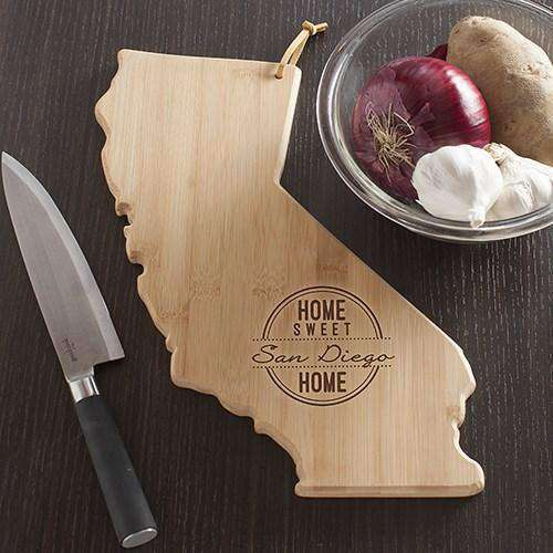 Personalized California Home State Wood Cutting Board