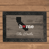 "Personalized ""Home"" Home State Doormat-Doormat Gourmet Wedding Gifts and edible wedding favors"