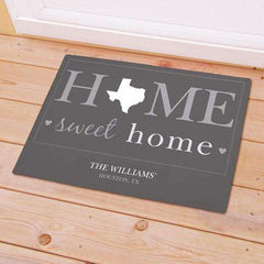 "Personalized ""Home Sweet Home"" Home State Doormat-Doormat Gourmet Wedding Gifts and edible wedding favors"