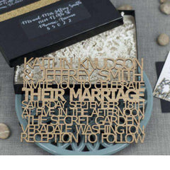 Custom Laser Cut Wooden Wedding Invitations-Gourmet Edible Wedding Gifts and Wedding Favors