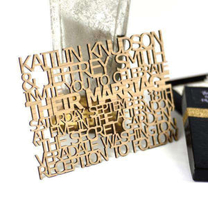 Custom Cut Wooden Wedding Invitations-Gourmet Wedding Gifts Personalized custom party favors and corporate event gifts