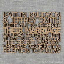 Load image into Gallery viewer, Custom Cut Wooden Wedding Invitations-Gourmet Wedding Gifts Personalized custom party favors and corporate event gifts