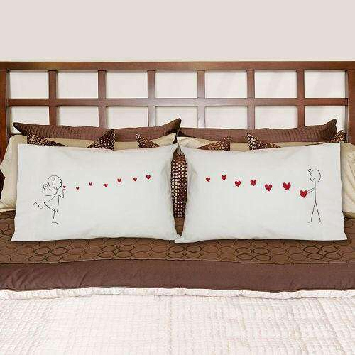 His & Hers Blowing Kisses Pillowcase Set-Pillow Gourmet Wedding Gifts and edible wedding favors