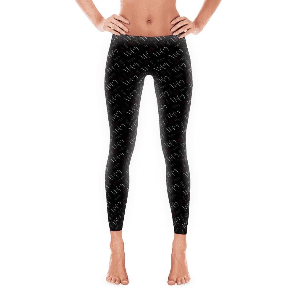 "Leggings - Women's ""Wifey"" With Hearts Black Full Length Leggings"