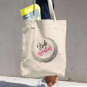 """Bride Essentials"" Denim Cotton Tote Bag-Gourmet Wedding Gifts Personalized custom party favors and corporate event gifts"
