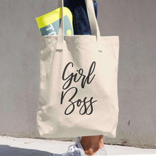 "Load image into Gallery viewer, Premium Denim Cotton ""Girl Boss"" Tote Bag"