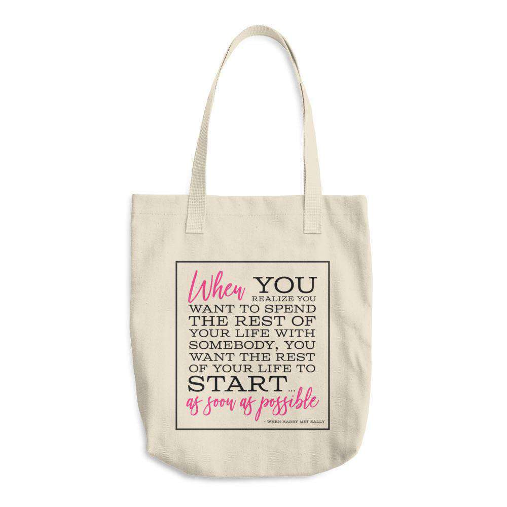 """When Harry Met Sally"" Classic Quote Denim Cotton Tote Bag-Tote Bag Gourmet Wedding Gifts and edible wedding favors"