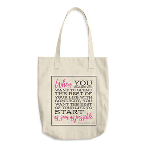"""When Harry Met Sally"" Denim Cotton Tote Bag - Classic-Gourmet Wedding Gifts Personalized custom party favors and corporate event gifts"