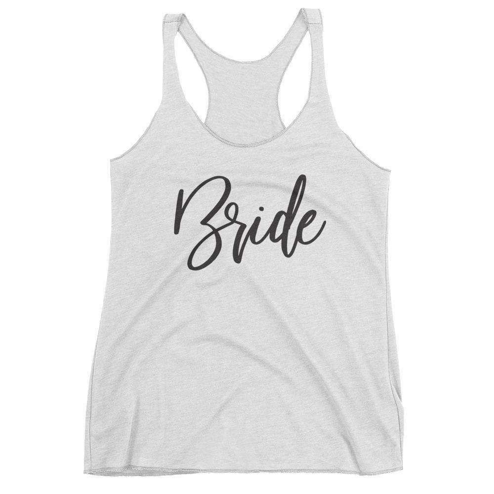 "Women's White ""Bride"" Racerback Tank - Fun Script- Gourmet Wedding Gifts and edible wedding favors"