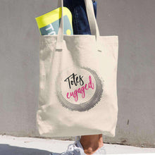 "Load image into Gallery viewer, ""Totes Engaged"" Denim Cotton Tote Bag-Gourmet Wedding Gifts Personalized custom party favors and corporate event gifts"