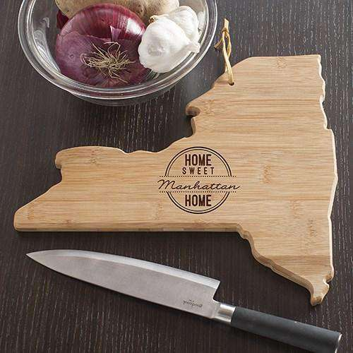Personalized New York State Wood Cutting Board-Gourmet Wedding Gifts Personalized custom party favors and corporate event gifts