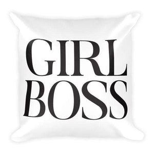 "Girlboss 18""x18"" Square Pillow - High Fashion-Gourmet Wedding Gifts Personalized custom party favors and corporate event gifts"
