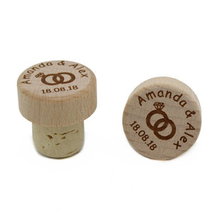 Personalized Wine Stoppers 50 Pieces Laser Cork Bottle Toppers Gift