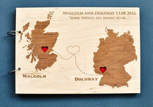 Load image into Gallery viewer, Rustic Wooden Wedding Guestbook World Map Album