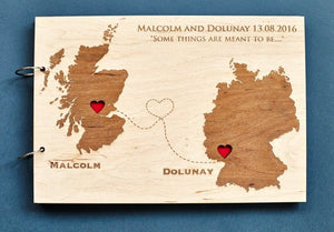 Rustic Wooden Wedding Guestbook World Map Album