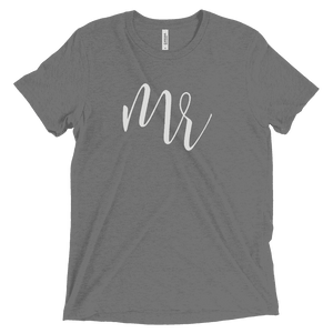 "Men's ""Mr"" T Shirt - Elegant Script-Gourmet Wedding Gifts Personalized custom party favors and corporate event gifts"
