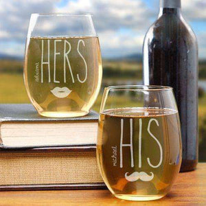 "Personalized ""HIS & HERS"" Stemless Wine Glass Set-Gourmet Wedding Gifts Personalized custom party favors and corporate event gifts"