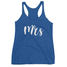 "Load image into Gallery viewer, Women's ""Mrs"" Racerback Tank - Chunky Script-Gourmet Wedding Gifts Personalized custom party favors and corporate event gifts"