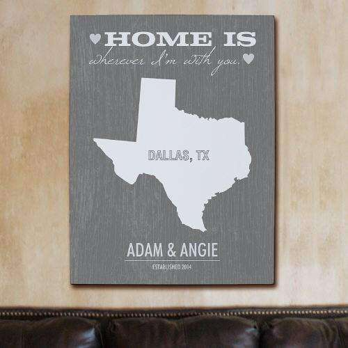"Personalized ""Home Is Wherever I'm With You"" Home State Wall Canvas-Artwork Gourmet Wedding Gifts and edible wedding favors"