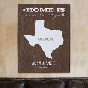 "Personalized ""Home Is Wherever I'm With You"" Home State Wall Canvas"