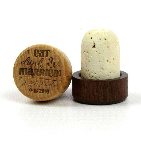 "Wine Bottle Cork Stoppers - ""Eat Drink and Be Married"" Design-Wedding Favors Gourmet Wedding Gifts and edible wedding favors"