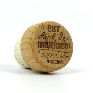 "Personalized Wedding Corks - ""Eat Drink and Be Married"" Design-Gourmet Wedding Gifts Personalized custom party favors and corporate event gifts"