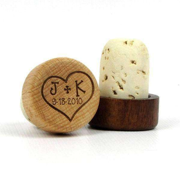 "Wine Bottle Cork Stoppers - ""Heart With Initials and Date"" Design-Wedding Favors Gourmet Wedding Gifts and edible wedding favors"