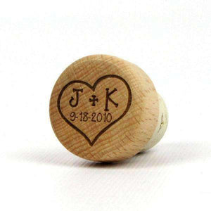 "Personalized Wedding Corks - ""Heart With Initials and Date"" Design-Gourmet Wedding Gifts Personalized custom party favors and corporate event gifts"