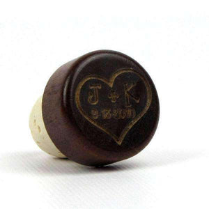 "Personalized Wine Corks - ""Heart With Initials and Date"" Design"