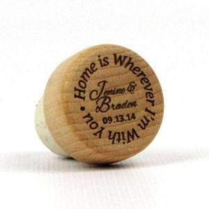"Personalized Wedding Corks - ""Home is Wherever I'm With You"" Design-Gourmet Wedding Gifts Personalized custom party favors and corporate event gifts"
