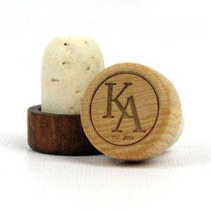"Personalized Wedding Corks - ""Monogram with Est Year"" Design-Gourmet Wedding Gifts and Wedding Favors for guests"