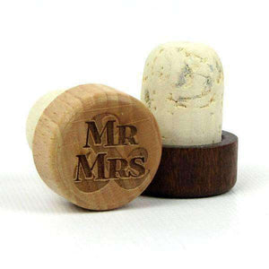 "Personalized Wedding Corks - ""Mr & Mrs"" Design-Gourmet Wedding Gifts Personalized custom party favors and corporate event gifts"