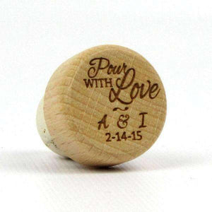 "Personalized Wedding Corks - ""Pour with Love"" Design-Gourmet Wedding Gifts Personalized custom party favors and corporate event gifts"