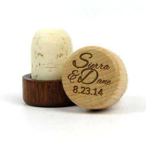 "Personalized Wedding Corks - ""Script Names and Date"" Design-Gourmet Wedding Gifts Personalized custom party favors and corporate event gifts"