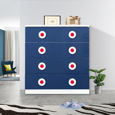 Blue Red White Car Style Drawer Chest With 4 Large Size Drawer