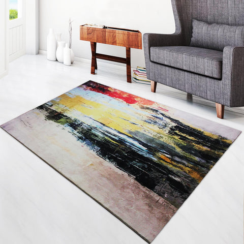 Super Soft Thin Thread Floor Area Modern Abstract Rug Carpet Black Red