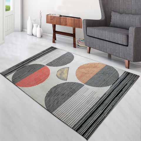Super Soft Thin Thread Floor Area Modern Abstract Rug Carpet Beige Black Red