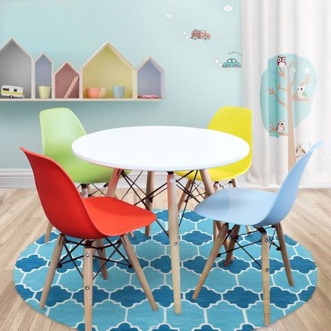 Kids Table and Chairs Package -1 x Round Table 4 x R B Y G Chairs