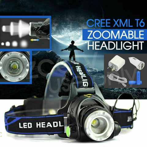 RECHARGEABLE HEADLAMP 100000LM 3T6 XML LED HEADLIGHT HEAD TORCH FLASHLIGHT 2020