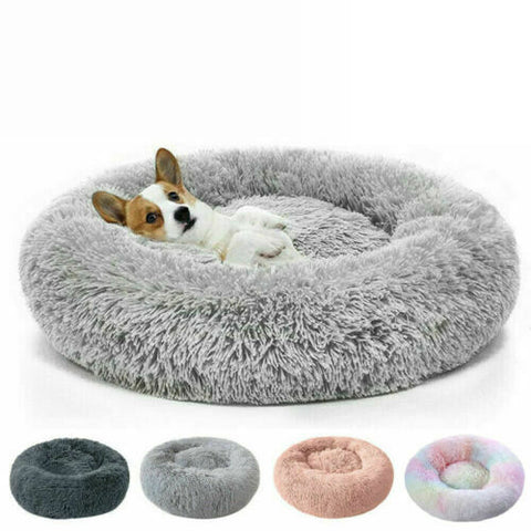 Dog Cat Pet Calming Bed Warm Soft Plush Round Nest Comfy Sleeping Kennel Cave