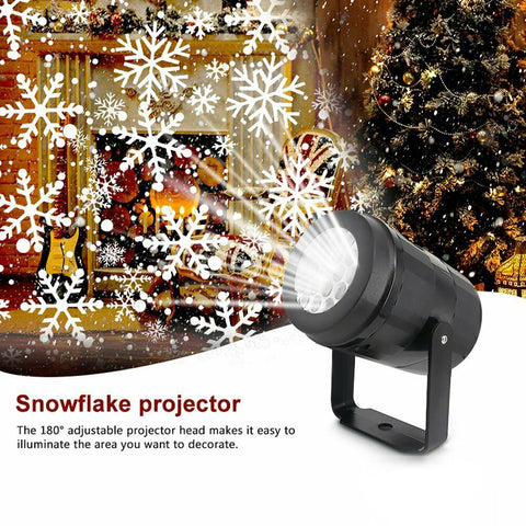 Christmas LED Laser Snowflake Snow Projector Light Garden Outdoor Xmas Home Lamp
