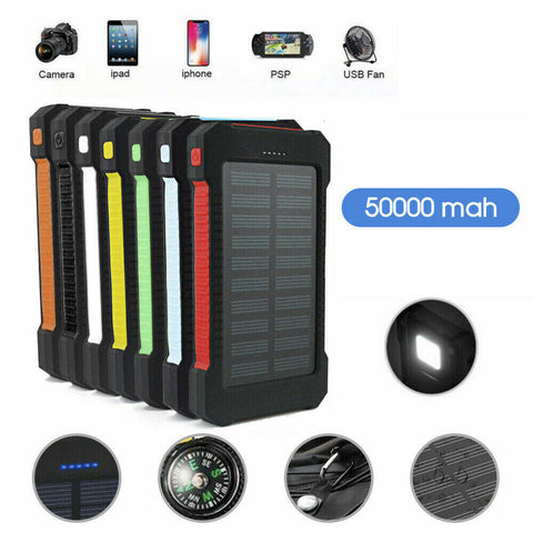 50000mah Solar Power Bank Portable External Battery Dual USB Phone Charger AU