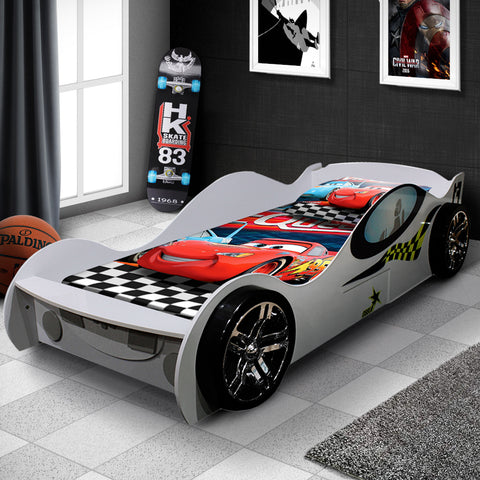 New White Kids Racing Car Bed For Boys Girls Single Size With Drawer